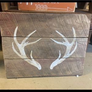 Deer antler rustic wood decor